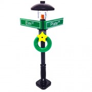 Lego Minifigure Holiday City/Town Street Sign and Lamp Post - Corner of Plate amp; Elm