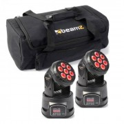 Beamz Set de efectos de luz 2x MHL-74 Moving-Head Mini Wash & 1x Soft Case (PL-6628-31779)