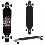 [pro.tec]® Monopatín Longboard para el cruising en la ciudad y el parque - 104x23x9,5cm - Skateboard (negro, blanco, rosa con calavera)