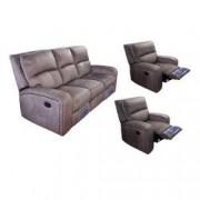 Set Md 5168 canapea 3 locuri cu 2 reclinere manuale si 2 fotolii cu recliner manual