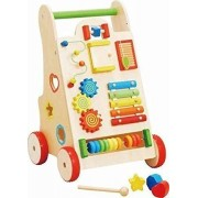 Babytintin Japanese Design Wooden Baby Walker Toy and Activity Center with Rubber Wheels All in one Toddler Walking Helper
