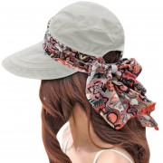 verano playas sol visores Cap plegable Anti UV NFE99 Sombrero LANG(#Gris)