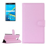 For Blackberry Priv Litchi Texture Horizontal Flip Leather Case with Magnetic Buckle & Holder & Card Slots & Wallet(Pink)