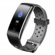 Q8S 0.96-inch Colorful Display IP68 Bluetooth 4.0 Fitness Band with Heart Rate/Blood Pressure/Blood Oxygen Monitor - Grey