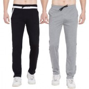 Cliths Set of 2 Casual Cotton Lowers For Men/ Grey Black Grey White Trackpants for Men
