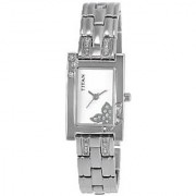 Titan Quartz Silver Dial Women Watch-9716SM01