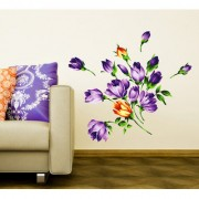 Vinyl Flowers Bouquet Purple Blooming Buds Vintage Style Peel And Stick Wall Sticker