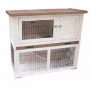"@Pet @Pet @Pet Къща за зайци ""Kiki"", бяло и кафяво, 92x45x80 cм, 20077"