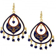 Spargz Oval Shape Gold Plated Officewear Blue Meenakari Hook Earrings For Women AIER 1164