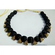 Silk thread necklace with bail black