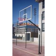 Jogo de canastras de basquete monotubular fixas com base sem tabuleiro, aro nem contrapeso