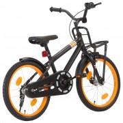 "vidaXL Bicicleta criança c/ plataforma frontal roda 18"" preto/laranja"