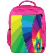 Snoogg Eco Friendly Canvas Multicolor Star Designer Backpack Rucksack School Travel Unisex Casual Canvas Bag Bookbag Satchel 5 L Backpack(Pink)