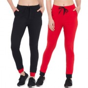 Cliths 100% Cotton Sporty Active Track Pant For Women/Yoga Pant/Gym Wear for Women -Set of 2 (Red And Black)