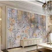 hwhz Papel Pintado Grande Personalizado Mural Flores Y Pájaros En Colores Pastel Europeos Y Americanos Fondo Retro Decoración De La Pared Pintura-350X250Cm