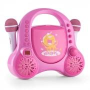 Rockpocket Sistema Karaoke p/ Crianças CD AUX 2 Microfones Autocolantes Rosa
