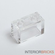 Lego Building Accessories 1 x 2 Clear Transparent Brick without Pin Bulk - 50 Pieces per Package