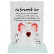 Glasplakett med Änglafigur - Til Bror
