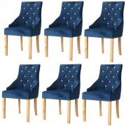 vidaXL Cadeiras de jantar 6 pcs carvalho maciço e veludo azul