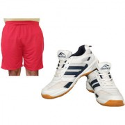 FOOTFIX Unisex RYDE White (Non-Marking) Gym/PU Badminton Shoes With Men's Shorts Free Red