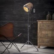 LUMZ Industriele vloerlamp met hout