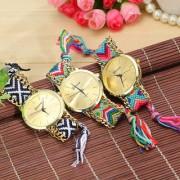 Handmade Braided Friendship Bracelet Geneva Gold Ladies Watch ( Only 1 piss )