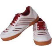Davico Court Deluxe Badminton Shoes For Men(White, Red)