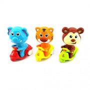 RIANZ Set of 3 Press & Go Scooter Riding Tiger + Elephant + Monkey Animal Moto Toy for Kids, Birthday Gift for Baby Kids