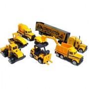 Emob Mini Die Cast Metal 7 Pcs Engineering Construction Vehicle Trucks Toys Play Set for Kids (Multicolor)