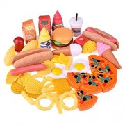 Play Food Set for Kids Kitchen Food Toys Fun Fast Doll Food Assortment Plastic Pretend Food Playset for Children Girls Boys Kids Toddlers Educational Early Age Basic Skills Development 49pcs