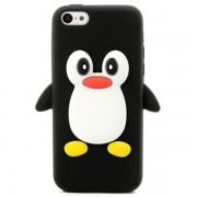 Capa 3D Penguin Silicone para iPhone 5C - Preto