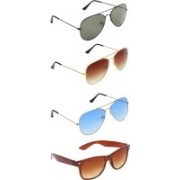 Zyaden Aviator, Aviator, Aviator, Wayfarer Sunglasses(Green, Brown, Blue, Brown)