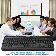Tecknet Office Slim X300 V3 2.4G - комплект устойчива на течности клавиатура и безжична мишка за офиса (черен)