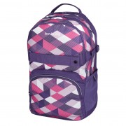 Rucsac Be.Bag ergonomic dimensiune 32x44x23 cm, motiv Cube Purple Checked