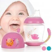 Biberon de invatare, faza 1, cu toarte si tetina din silicon, Kiokids, +6 luni, 210 ml, ventilatie anti-colici, fara BPA