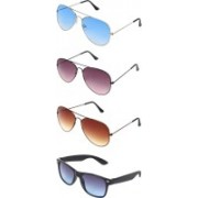 Abner Wayfarer Sunglasses(Blue, Brown, Brown, Blue)