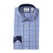 TM LEWIN Blue Check Fitted Dress Shirt NAVY BLUE