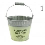 Bádog kaspó kerek Flowers Garden 13x11cm 232-B-235 3féle színben - Virágtartó