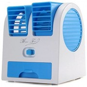 shopeleven Super Mini Fan Air Cooler -Water Tray Portable Desktop Dual Bladeless Air Cooler USB New Fan assorted colors