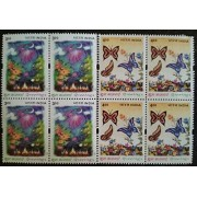 India 2001 Greetings Flowers Butterflies Fireworks Nature Butterfly Blocks of 4 MNH