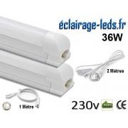 Kit 2 tubes LED T8 36W 120 cm blanc naturel 230v raccord 1 mètre ref tu18-cb04