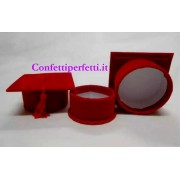 Set di 12 Cappelli Tocco Laurea porta confetti in velluto e nappina rossa. Bomboniere Car.