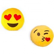 De Ultimate Combo Of Luv Kiss And Love Hearts In Eyes Ultra Soft Plush Emoji Pillow Cusion For Sofa/couch/bed Decor 9CM