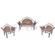 Shilpi Wooden Iron Fancy Design Sofa Set Of 3 PCs / Traditional design For Living Room Garden Decor Wooden Sofa Set