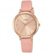 Lorus RG240nx-9 Silver Tone avec montre-bracelet à sangle brune Quartz/Acier inoxydable/Or Rose