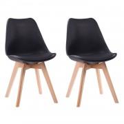 Happy Garden Lot de 2 chaises scandinaves NORA noires avec coussin
