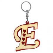 The Marketvilla Single Sided Wooden Keychains Alphabet Letter Initial E Valentine Heart Shape Keychain With Metal Key Ring For Kids, Men Women Boys & Girls