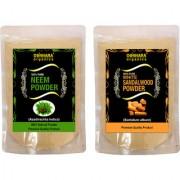Donnara Organics 100% Natural Neem Powder and Sandalwood powder Combo pack of 2 of 150 gms(300 gms)