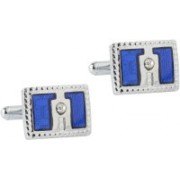 Tripin Brass Cufflink & Tie Pin Set(Blue)