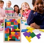 ER Coloridas De Madera Tangram Puzzle Tetris Rompecabezas Rompecabezas Juguetes Educativos - Color De Madera